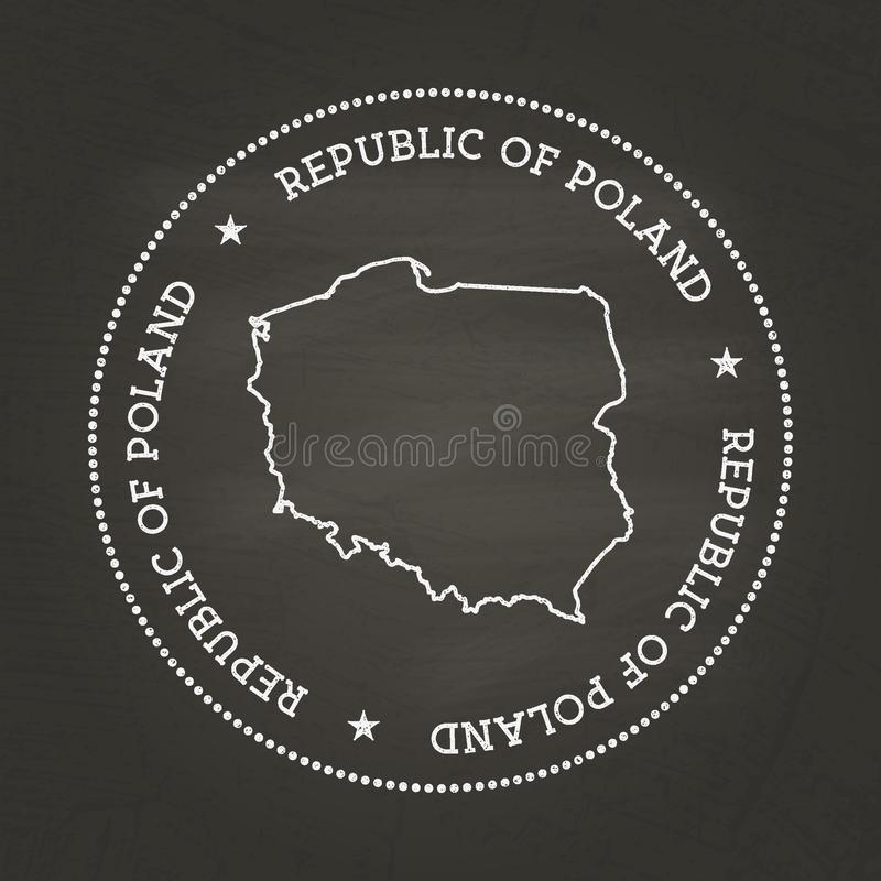 Selo branco do vintage da textura do giz com república de ilustração royalty free