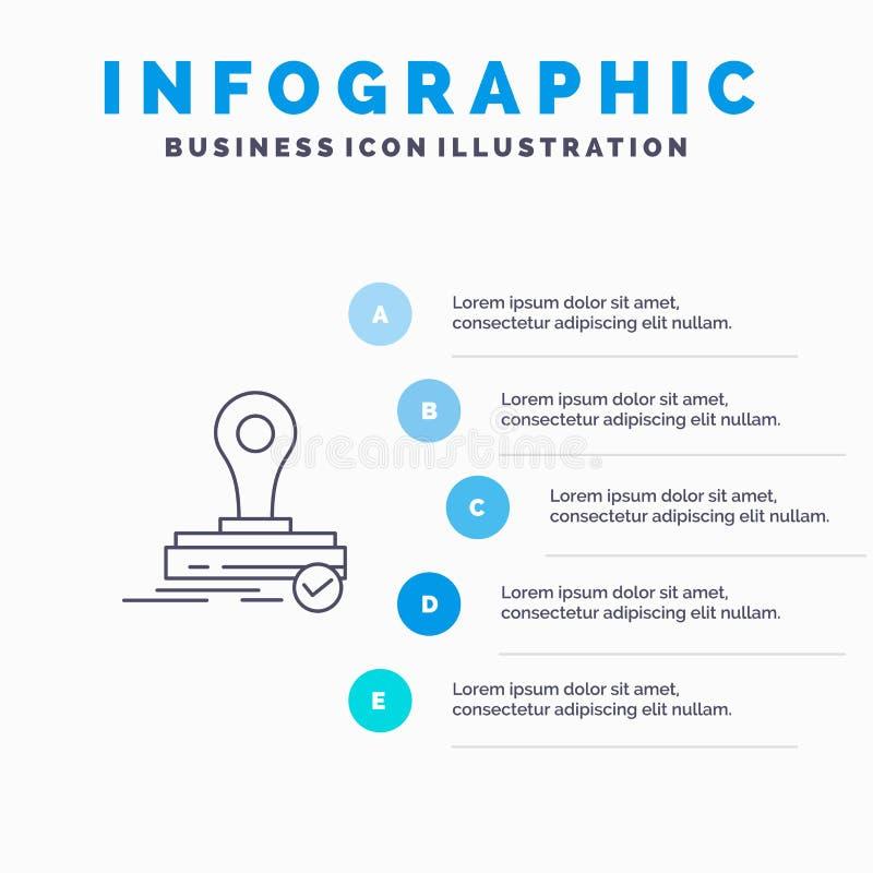 Selo, clone, imprensa, ícone de Logo Line com fundo do infographics da apresentação de 5 etapas ilustração do vetor