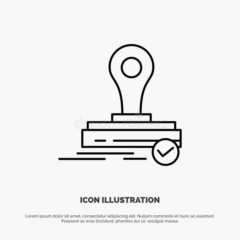 Selo, clone, imprensa, Logo Line Icon Vetora ilustração do vetor