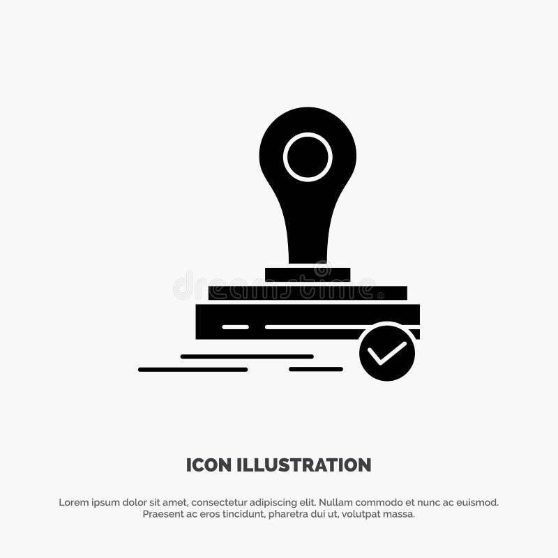 Selo, clone, imprensa, vetor contínuo do ícone do Glyph do logotipo ilustração do vetor