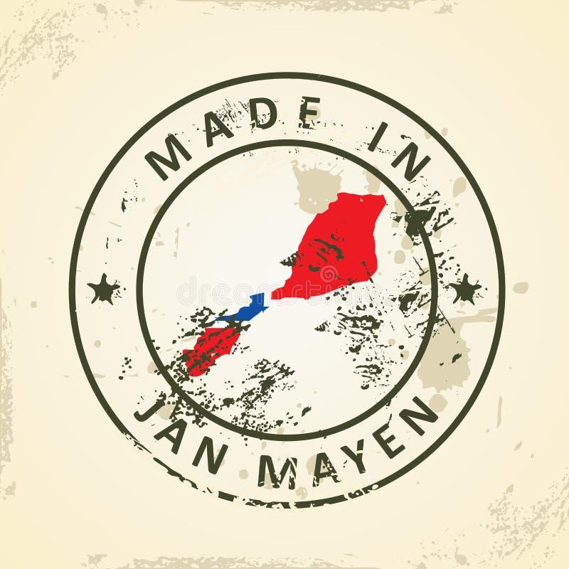 Selo com a bandeira do mapa de Jan Mayen ilustração do vetor