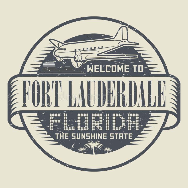 Selo com boa vinda ao Fort Lauderdale, Florida do texto ilustração stock