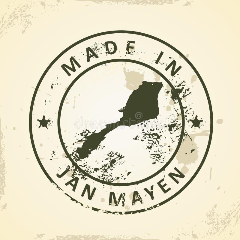 Selo com o mapa de Jan Mayen ilustração stock