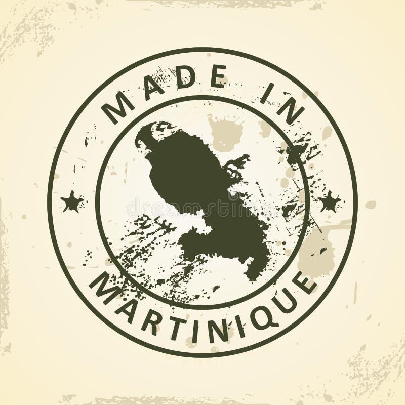 Selo com o mapa de Martinica ilustração stock