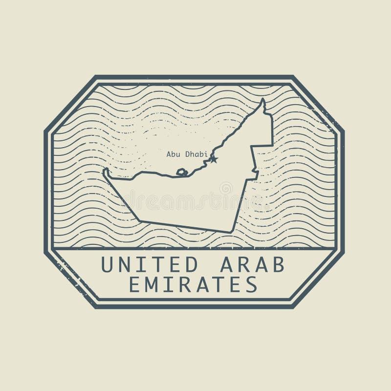 Selo com o nome e o mapa de Emiratos Árabes Unidos ilustração royalty free