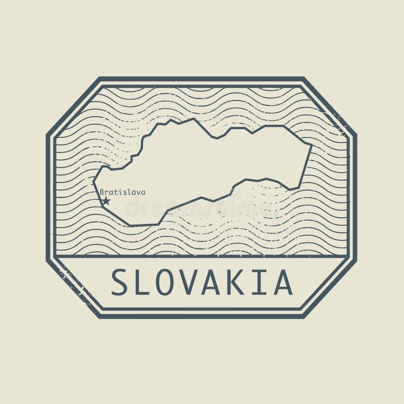 Selo com o nome e o mapa de Eslováquia ilustração stock