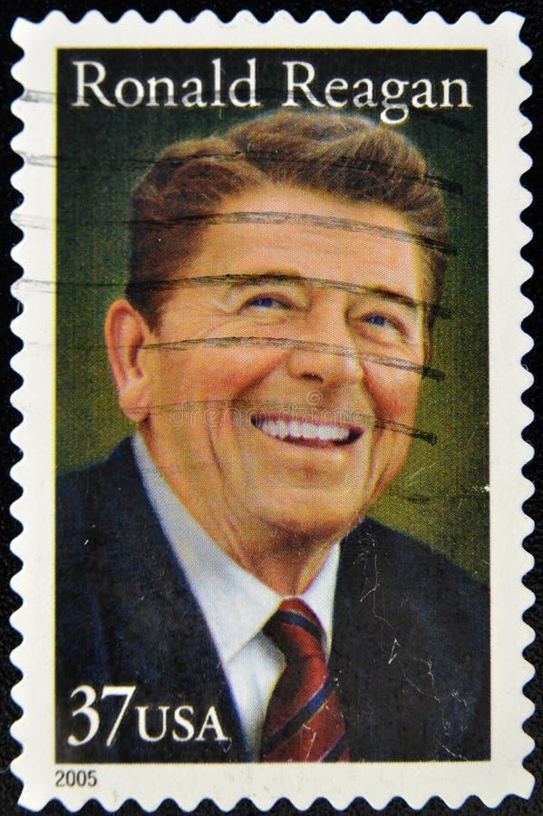 Selo com presidente Ronald Reagan foto de stock