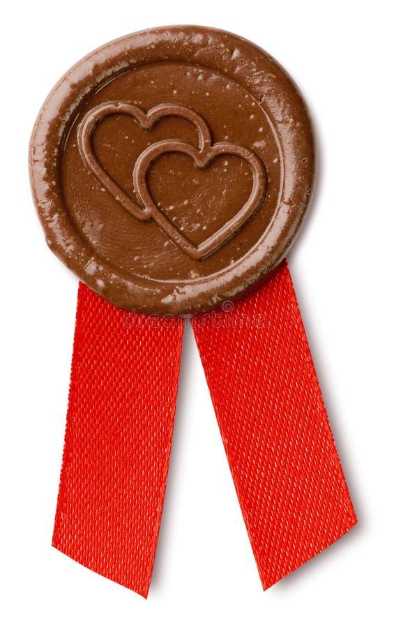 Selo da cera de Brown com corações fotografia de stock