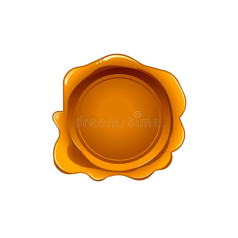 Selo da cera do ouro isolado no fundo branco Selo do vetor Etiqueta dourada realística para o original da letra ilustração stock