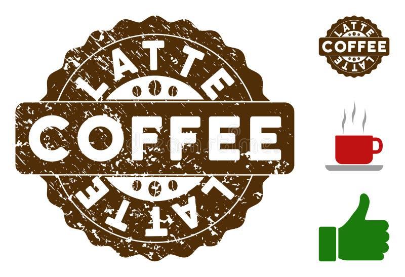 Selo da concessão do Latte com estilo do Grunge ilustração royalty free