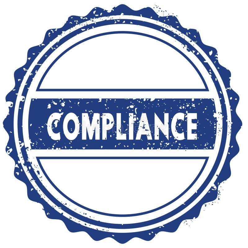 Selo da conformidade etiqueta selo sinal redondo azul da fita do vintage do grunge ilustração stock