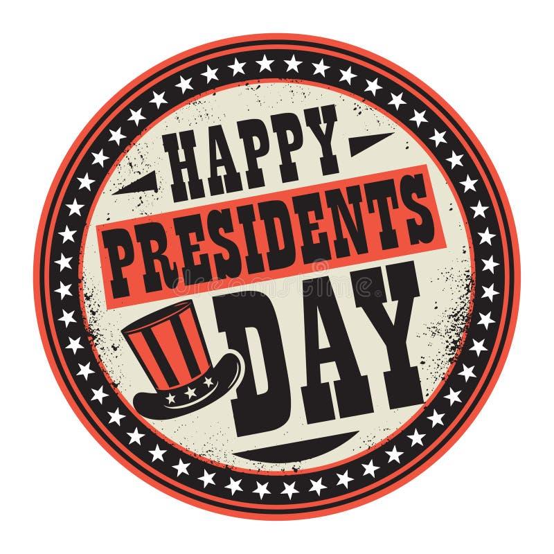 Selo da cor do Grunge com os presidentes felizes Dia do chapéu e do texto ilustração do vetor