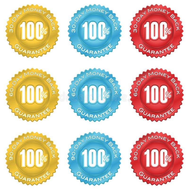 Selo da garantia da parte traseira do dinheiro ilustração royalty free