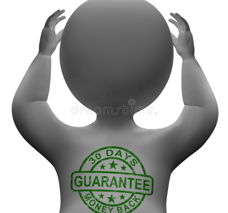Selo da garantia da parte traseira do dinheiro de 30 dias no homem ilustração do vetor