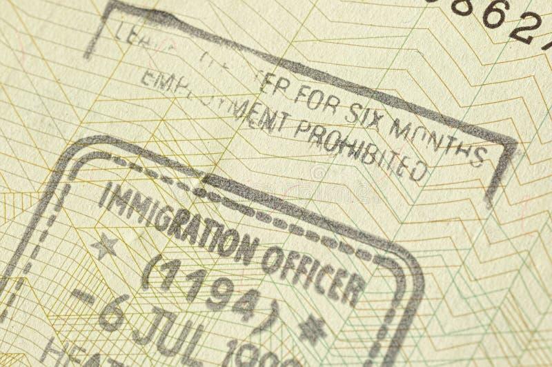 Selo da imigração fotos de stock