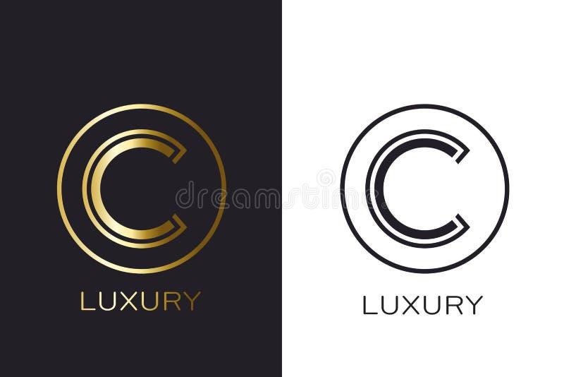 Selo da letra do ouro do monograma do logotipo C, cartão elegante do modelo Ilustração do vetor ilustração royalty free
