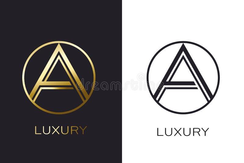 Selo da letra do ouro do monograma do logotipo A, cartão elegante do modelo Ilustração do vetor ilustração royalty free