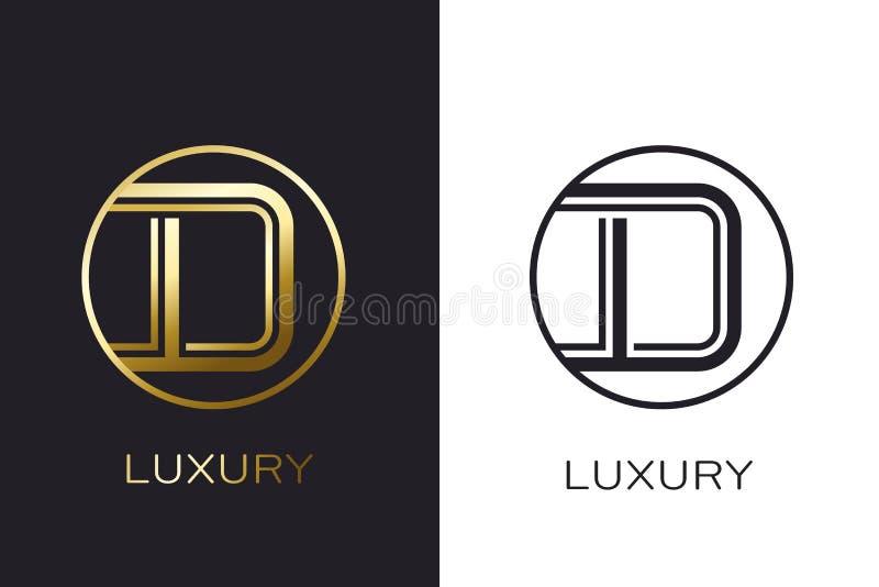 Selo da letra do ouro do monograma do logotipo D, cartão elegante do modelo Ilustração do vetor ilustração royalty free