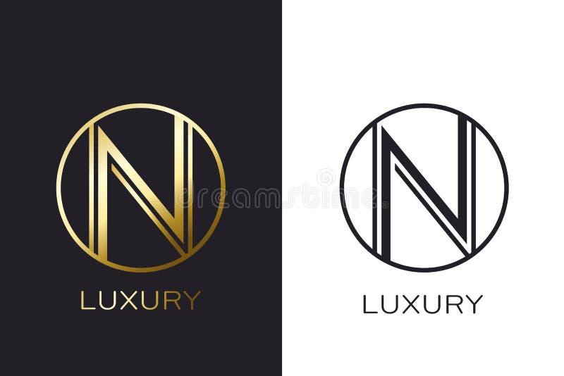 Selo da letra do ouro do monograma do logotipo N, cartão elegante do modelo Ilustração do vetor ilustração stock