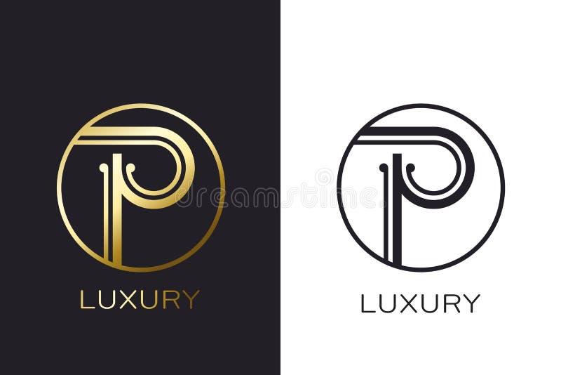Selo da letra do ouro do monograma do logotipo P, cartão elegante do modelo Ilustração do vetor ilustração stock