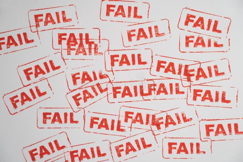 Selo da palavra da falha no Livro Branco fotografia de stock royalty free