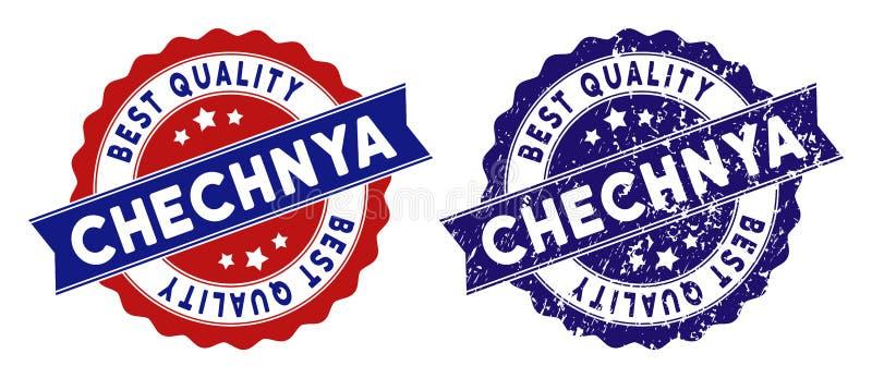 Selo da qualidade de Chechnya o melhor com textura suja ilustração stock
