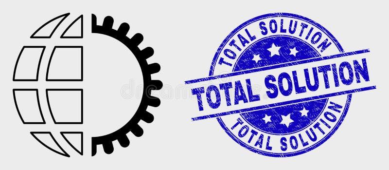 Selo da solução do ícone do serviço global do curso do vetor e do total do Grunge ilustração do vetor