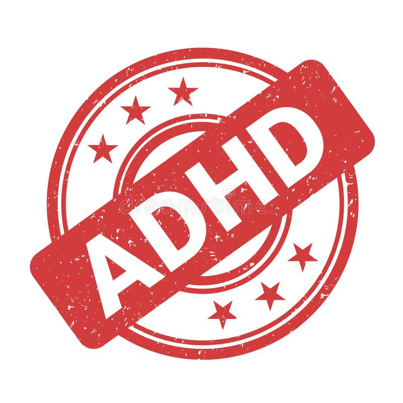 Selo de ADHD - confirmação e certificação positivas do diagnóstico ilustração stock