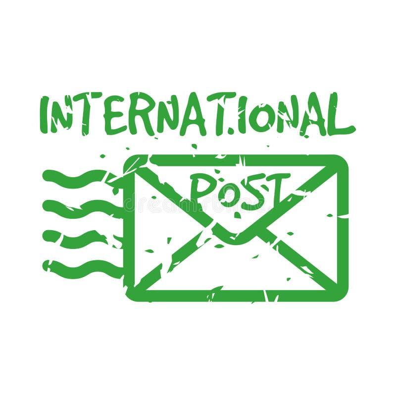 Selo de correio internacional do porte postal do vintage do vetor ilustração royalty free