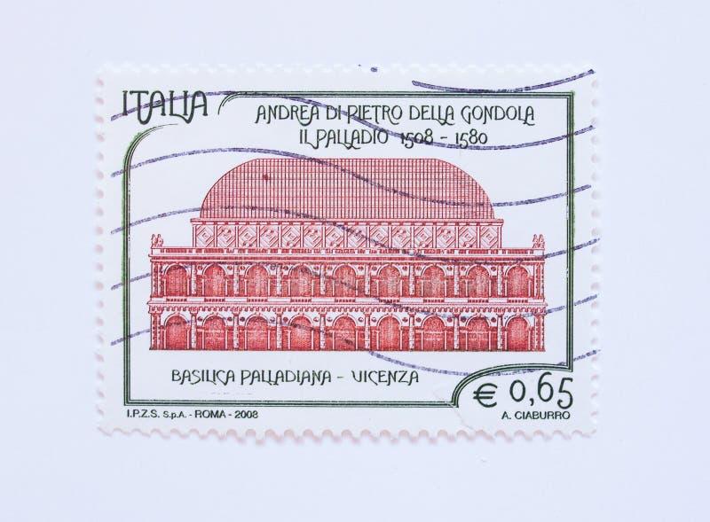 Selo de correio de Palladiana da basílica de Itália fotografia de stock