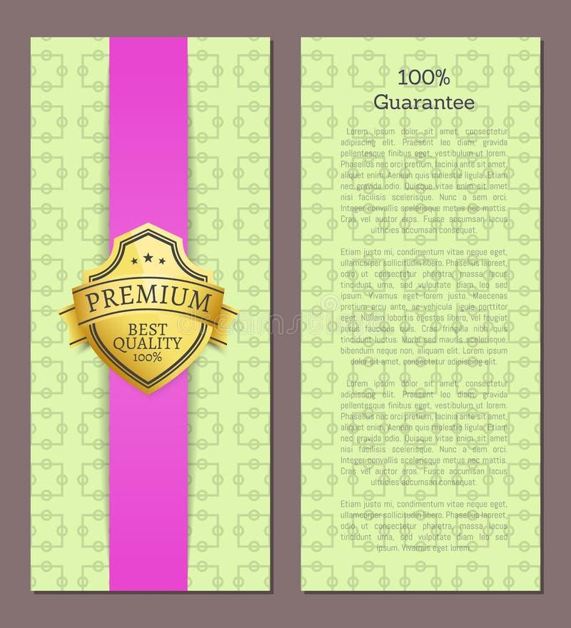 selo de 100 garantias com amostra do texto Etiqueta dourada ilustração do vetor