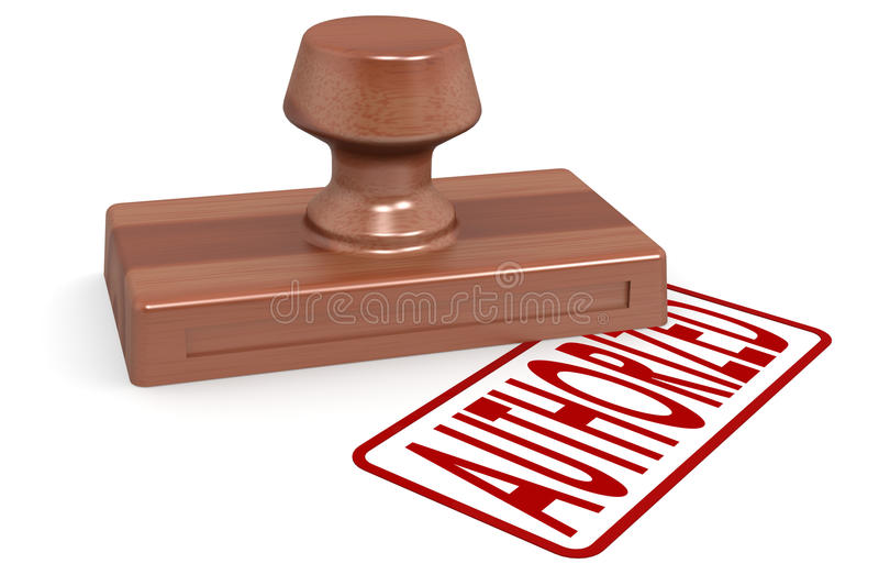 Selo de madeira autorizado com texto vermelho ilustração do vetor