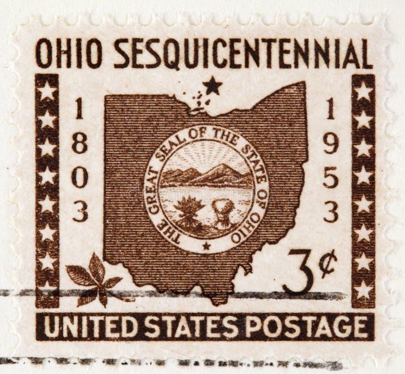 Selo de porte postal 1953 de Ohio fotos de stock