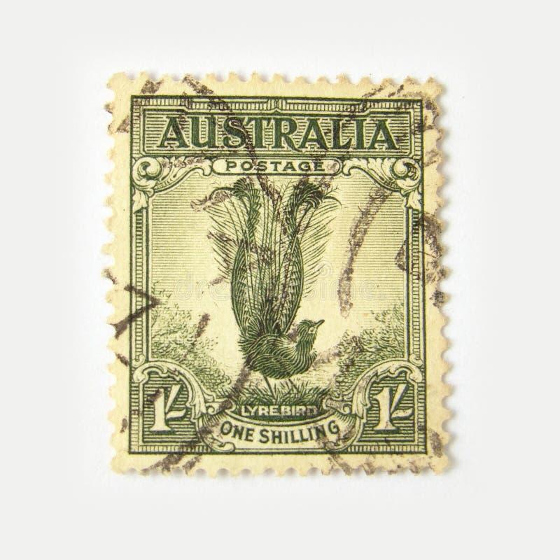 Selo de porte postal de Austrália com lyrebird imagens de stock