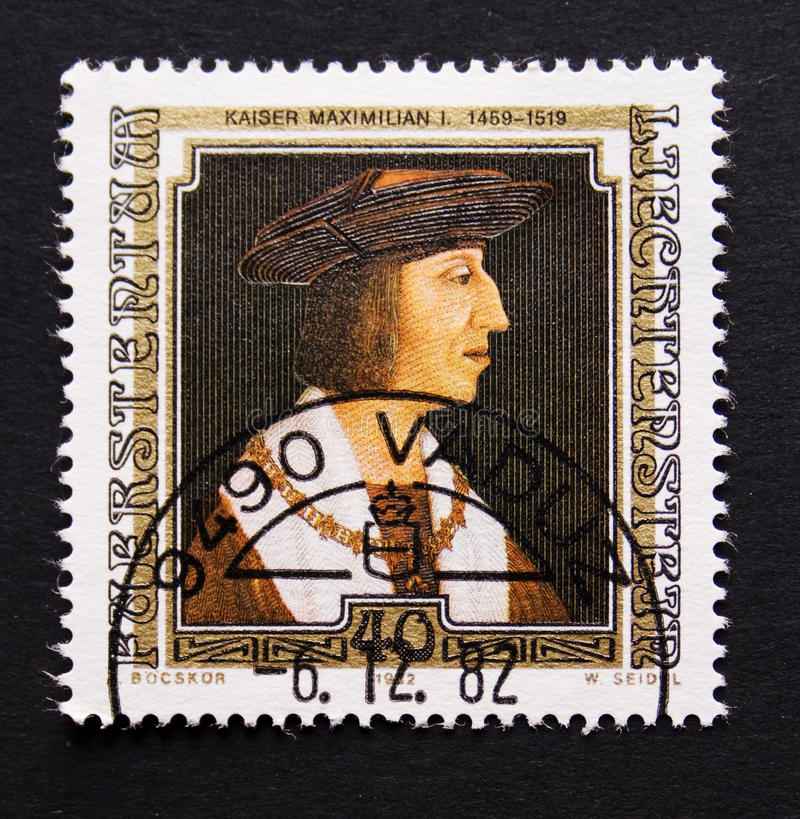 Selo de porte postal de Liechtenstein foto de stock