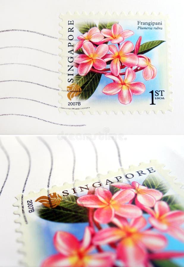 Selo de porte postal de Singapore fotografia de stock royalty free