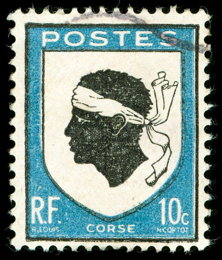 Selo De Porte Postal Do Vintage De Córsega Imagem de Stock