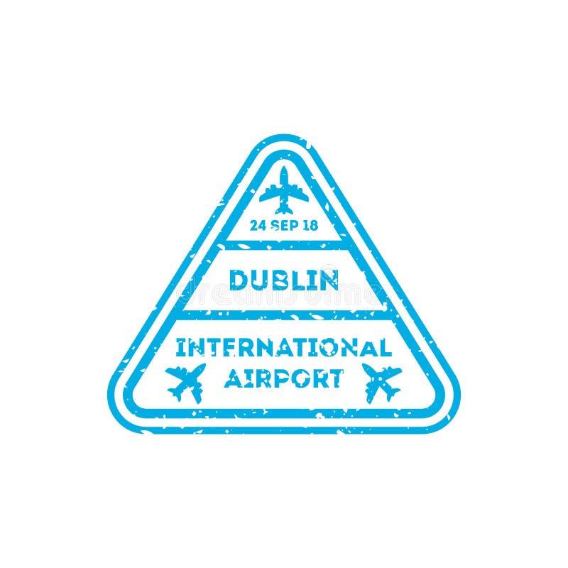 Selo de visto da cidade de Dublin no passaporte ilustração royalty free