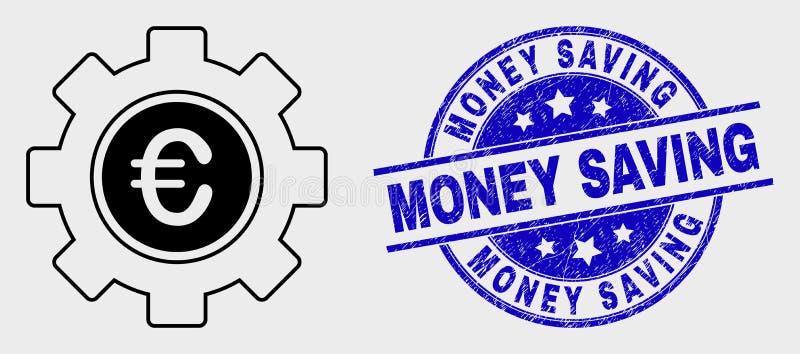 Selo do ícone da engrenagem do Euro do curso do vetor e do selo da economia do dinheiro do Grunge ilustração do vetor