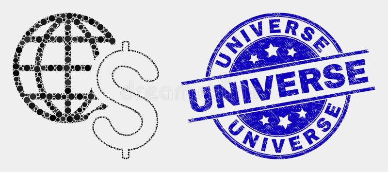 Selo do ícone do negócio global de Pixelated do vetor e do selo do universo da aflição ilustração royalty free