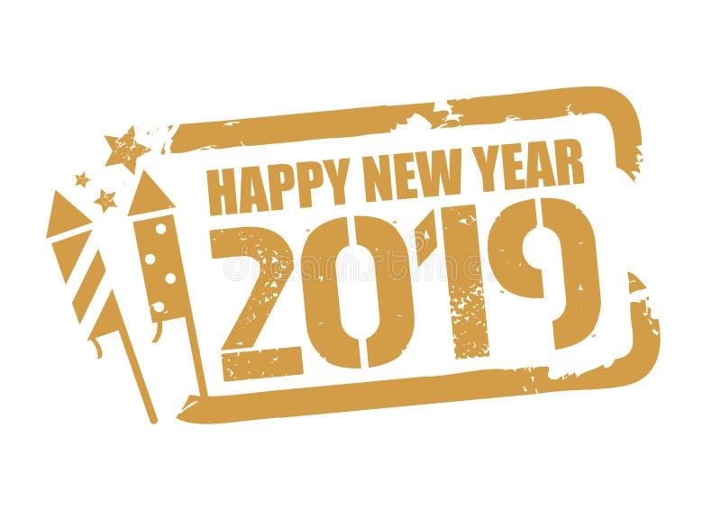Selo do ano novo feliz do vetor 2018 com símbolo do fogo de artifício ilustração stock