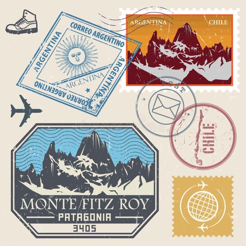 Selo do cargo ajustado com Monte Fitz Roy ilustração do vetor