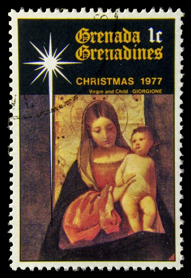 Selo do cargo do Virgin e da criança foto de stock