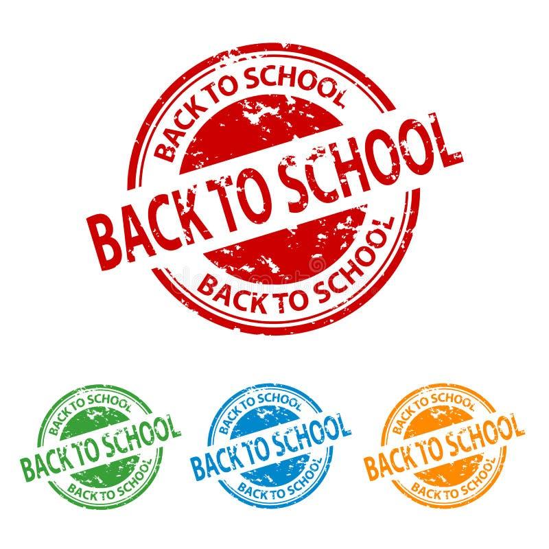 Selo do carimbo de borracha - de volta à escola - grupo colorido do vetor ilustração royalty free