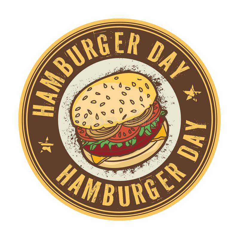 Selo do dia do Hamburger ilustração do vetor