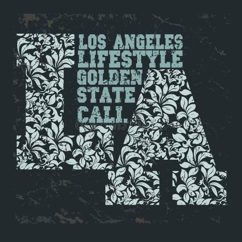 Selo do fato do atletismo da escola do t-shirt de Califórnia ilustração royalty free