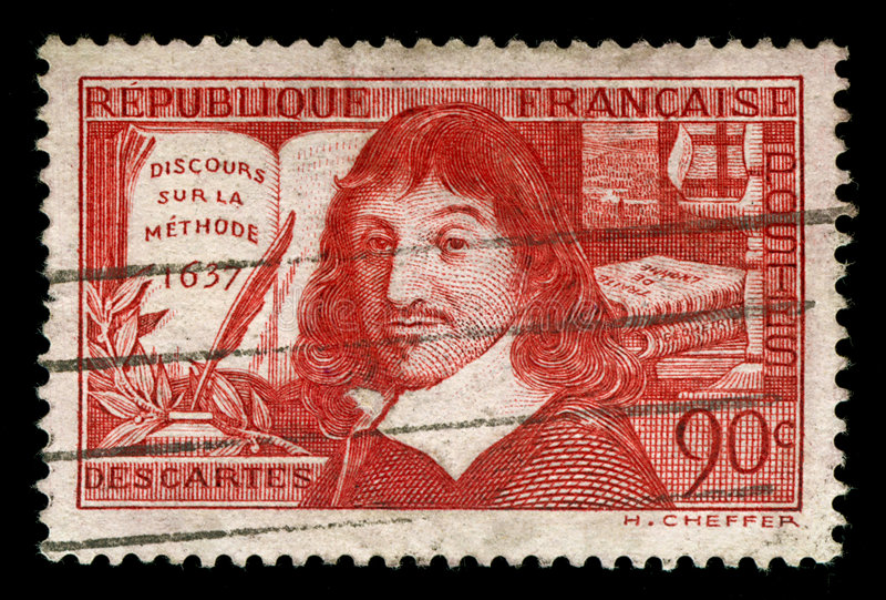 Selo do francês do vintage que descreve Rene Descartes fotografia de stock royalty free