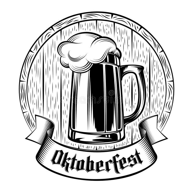 Selo do fundo do feriado de Oktoberfest da espuma do tambor do vidro de cerveja ilustração royalty free