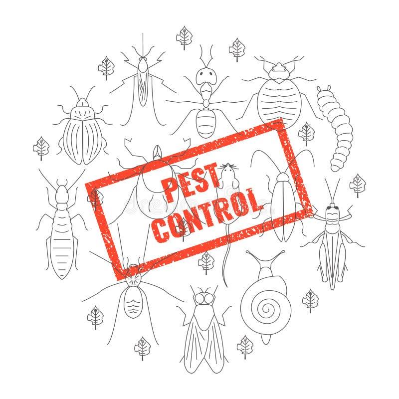 Selo do inseto do controlo de pragas ilustração do vetor