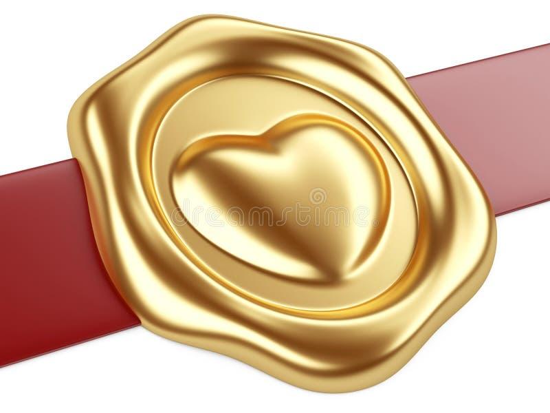 Selo do ouro com coração e a fita vermelha ilustração stock